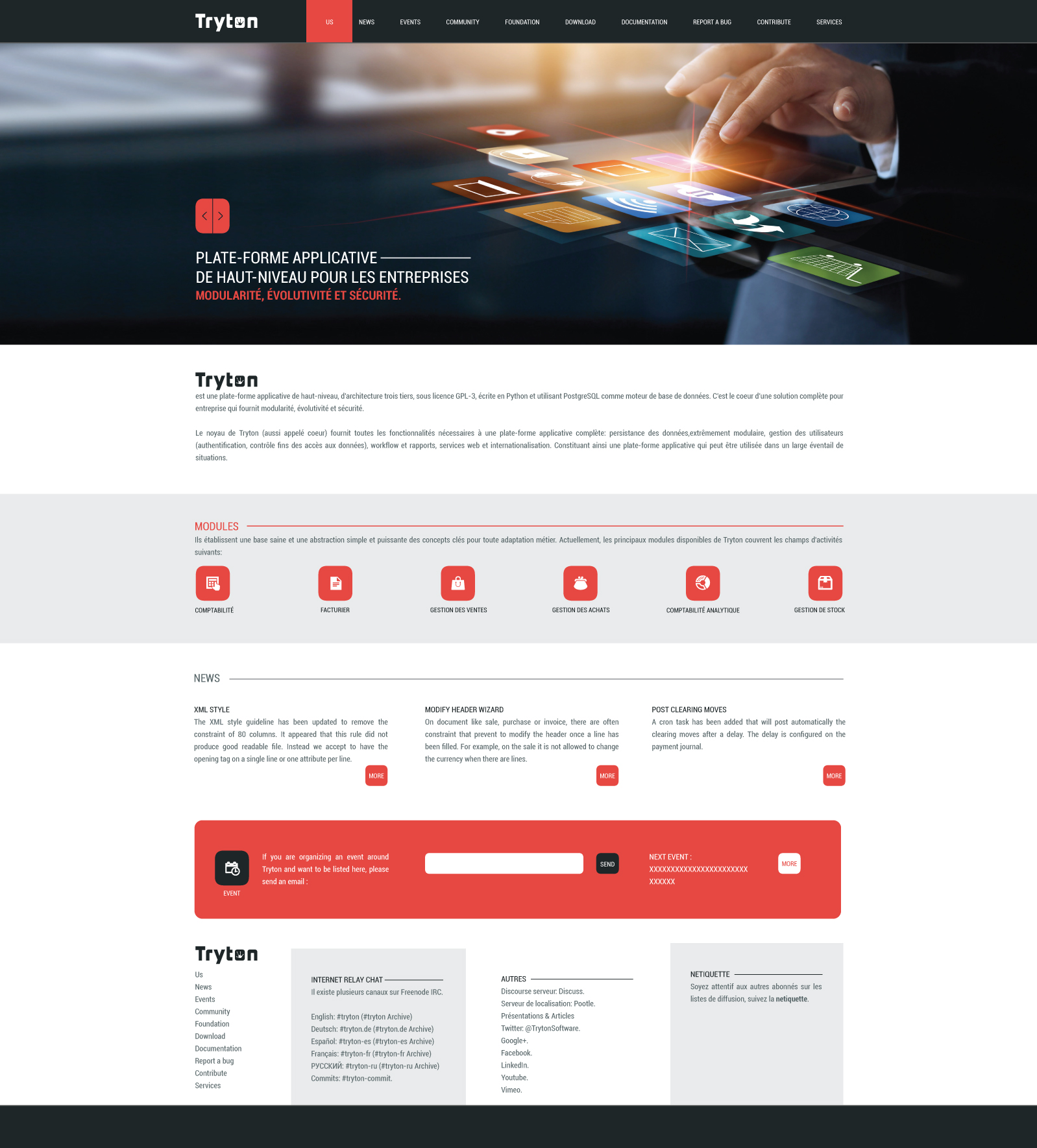 First website template proposal - Communication - Tryton discussion