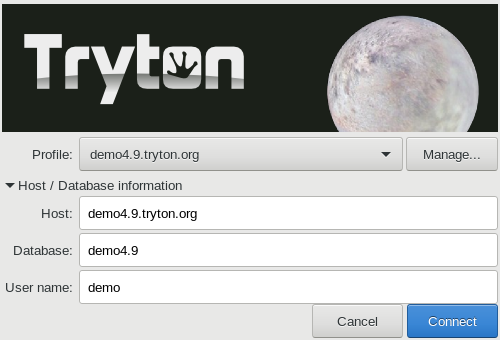 Tryton login window